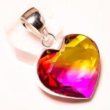 "FACETED AMETRINE GEMSTONE HANDMADE HEART SHAPE PENDANT 1.5"""
