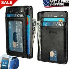 29f06abc391b FRONT POCKET WALLET LEATHER RFID Blocking ID Card Holder Slim Men s Women s  Gift