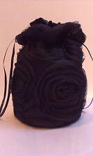 Negro Rosa Diseño De Tul Y Raso Dolly Bolsa. Novia / Dama / noche