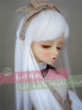 "7-8"" 1/4 BJD White Straight Long Wig LUTS Doll SD DZ DOD MSD Fairyland Hair"
