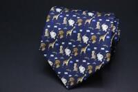 SALVATORE FERRAGAMO Silk Tie. Blue w Lion Giraffe Elephant & Cheetahs