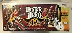 Guitar Hero Aerosmith Pack of 2 Guitar Controllers for Nintendo Wii/Wii U -White