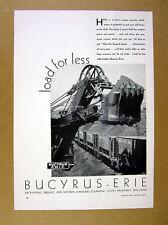 1935 Bucyrus-Erie 170-B Loader loading rail cars photo vintage print Ad
