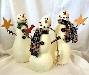 Snowman Family ~ Wax Candle Holiday Figurine Seasonal Winter Decor Christmas