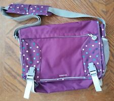 Lands End Kids Book Bag Messenger Crossbody Purple with dots