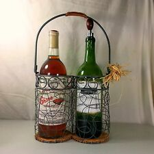 Wine Carrier Stand 2-Bottle Holder Caddy Hand Made Wire And Wicker Folk Art