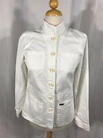 Faconnable White Cotton Military Jacket Blazer Womens Sz Small S