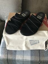 BRAND NEW WITH BOX FITFLOP LUMY WOMENS BLACK SUEDE LEATHER SLIDES SANDALS UK 5