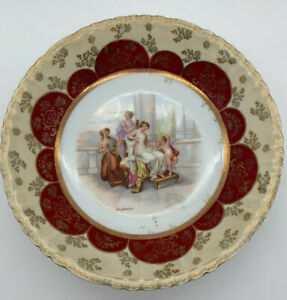 Antique Victoria Carlsbad Austria Porcelain Plate Kaufmann Signed Red Gold 7""