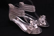 Women's Flower Sandals Wedge Heel Buckled Ankle Strap shoes Silver 939-32