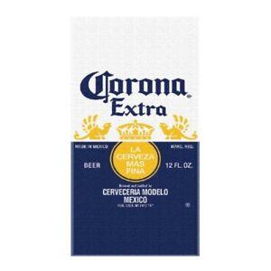 Corona Extra Beer Label Beach Towel Blue