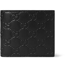 CLEARANCE NWT GUCCI Men's Classic Black Guccissima Leather Bi-fold Wallet ITALY