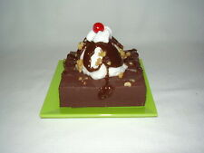 Fake Food Soda Fountain/Ice Cream Parlor Hot Fudge Brownie Sundae w/nuts