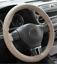 Beige PVC Leather Steering Wheel Wrap Cover w/ Needle Thread DIY Audi BMW Luxury