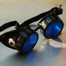 Steampunk goggles Victorian glasses novelty costume welding lens goth SSS -black