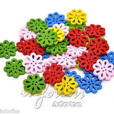 20 Botones de madera con forma de Flor varios colores - REF.120377