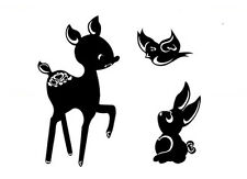 CUTE WOODLAND CREATURES BAMBI DEER WALL DECOR DECAL