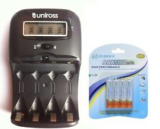 UNiROSS LCD 1-2 HOUR AA/AAA CHARGER & 4 x AAA 1100 mAh Rechargeable Batteries FM