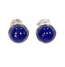 Earrings Studs Stone Lapis Lazuli & Solid Silver Rhodium