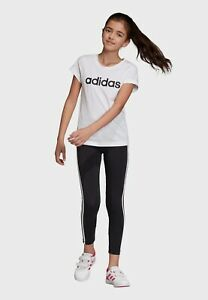 Adidas Essentials Linear T-Shirt white Black Boys Girls Age 11-12 Years DV0357