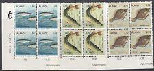 ALAND : 1990 Fish set  SG 41-3 never-hinged mint blocks of four