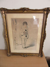 "Antique signed fancy Framed Mathilde De Cordoba ""To The Mess Hall"" etching"