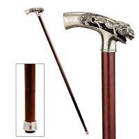 Italian Solid Pewter Prowling Lion Polished Hardwood Walking Stick Cane