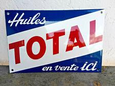 Plaque émaillée Huiles Total en vente ici ,30x20cm,neuve,fabrication Française