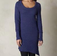 Prana Dark Blue Chunky Knit Long Sleeve Felicia Sweater Tunic Women's L