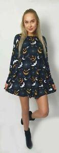 Kids Girls Halloween Long Sleeve Skull Pumpkin Spider Print Swing Dress 2-12 YRS