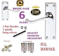 Paquete De Puerta Completo X 6 | Interior de desplazamiento moderno Manijas De Las Puertas | + Bisagras & pestillos