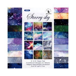 "12Pcs 6"" Starry Sky Paper Pad Scrapbooking Album Card Decor Craft Single-sided"