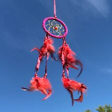 New Bright Pink and Red Beaded Dream Catcher Native American Wall Hanging Mobile