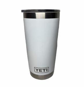 Yeti White 20 oz Rambler Tumbler Stainless Steel with MagSlider Lid EUC