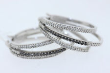 Sterling Silver .30ct Round White & Black Diamond Triple Hoop Earrings