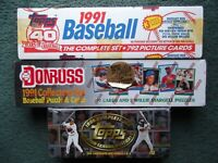 (3)FACTORY SEALED BASEBALL SET LOT-1991 DONRUSS,1991 & 1996 TOPPS, CHIPPER JONES