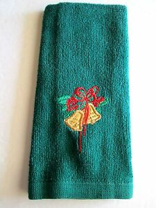 Embroidered Christmas Bells Applique Bath Hand Towel 11 x 16 NWOT