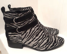NEXT Zebra Animal Print Flat Heel Ankle Boots Size 5 Goth Grunge Shoes BNWT £50