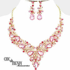 HIGH END PINK CHUNKY CRYSTAL & PEARL PROM WEDDING FORMAL NECKLACE JEWELRY SET