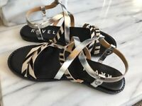 Ravel Leather Flat Sandals Size 4UK Silver & Animal Print Ankle Strap Worn Once