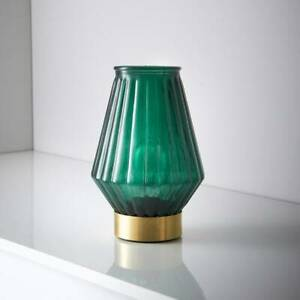 Emerald Glass LED Table Lamp Contemporary Lighting On Desk or Table at Home New.