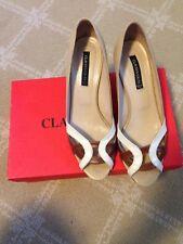 Claudia Ciuti Womens Galina Tan Leather Dress Wedge Pumps