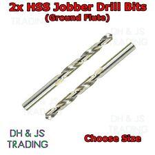 2x HSS Drill Bits - Flute Ground - Jobber Bit - For Hard Use Steel Wood Plastics