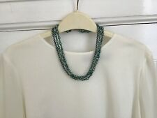 Beautiful Vintage Three Strand Shades of Green Cultured Pearls Necklace