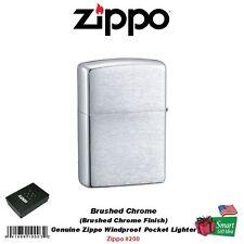 Zippo Brushed Chrome Finish Lighter, Regular, Genuine USA Windproof #200