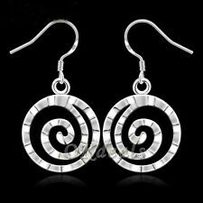 Hot Women 925 Sterling Silver Plated Hoop Solid Dangle Earring Studs Jewelry