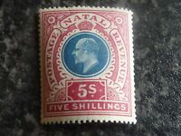 NATAL SOUTH AFRICA POSTAGE & REVENUE STAMP SG140 DULL BLUE & ROSE 5 SHILLING LMM