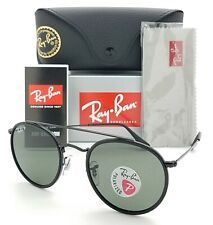 NEW Rayban Sunglasses RB3647N 002/58 51 Round Double Bridge Black Grey Polarized