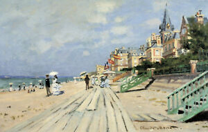 Vintage painting art claude monet artwork beach seaside canvas framed Sea France