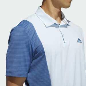 NEW Adidas Ultimate 365 Blocked Print Polo Golf Shirt MEDIUM Sky Royal Blue NWT